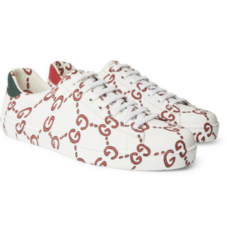 Gucci New Ace Printed Leather Sneakers – White