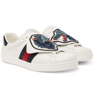 Gucci Ace Embellished Leather Sneakers – White