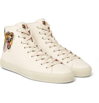 Gucci Major Tiger-appliquéd Full-grain Leather High-top Sneakers – Cream