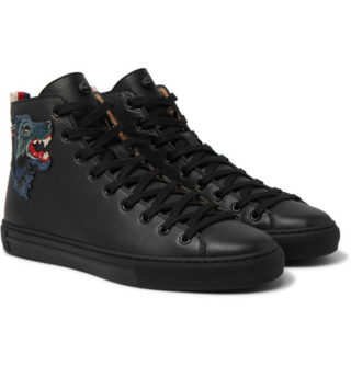 Gucci Major Wolf-appliquéd Full-grain Leather High-top Sneakers – Black