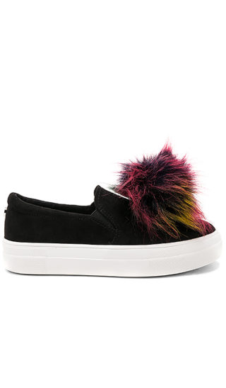 Steve Madden Great Faux Fur Sneaker in Black