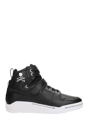 MASTERMIND WORLD MASTERMIND WORLD Skull Print Hi Top Black Leather Sneakers (zwart)