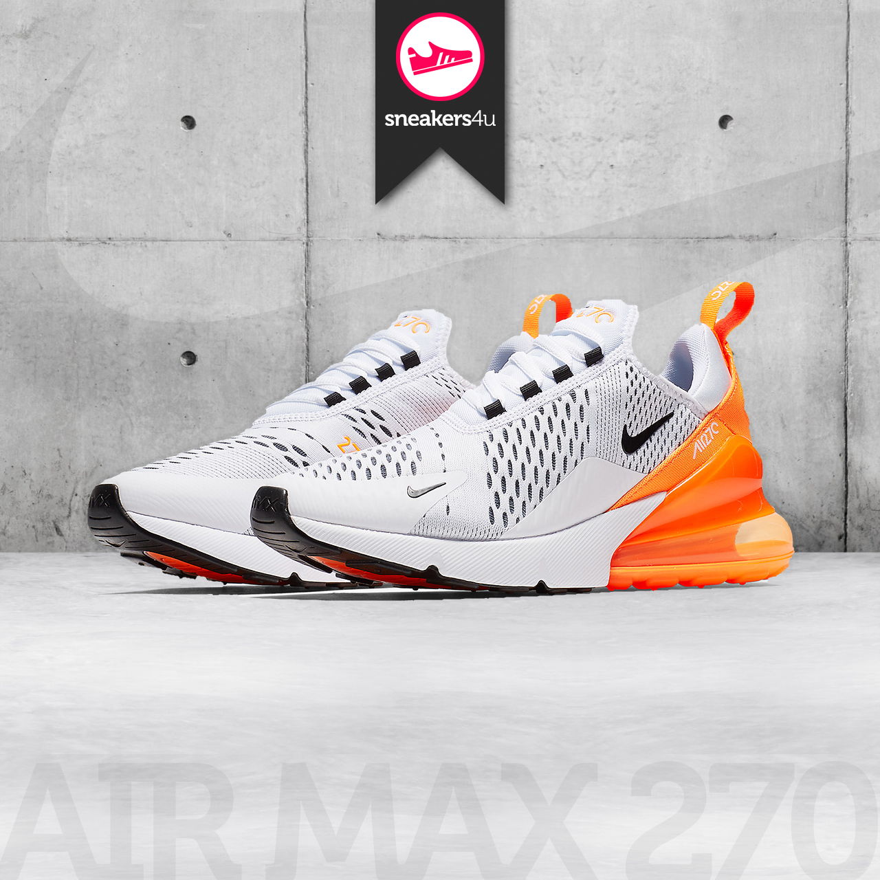 Air Max 270 White Black Orange W