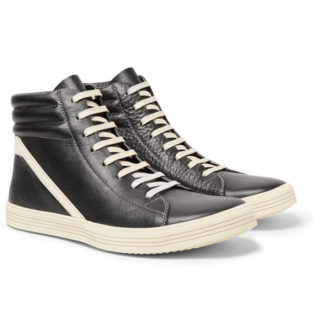 Rick Owens Geothrasher Two-tone Full-grain Leather High-top Sneakers – Black