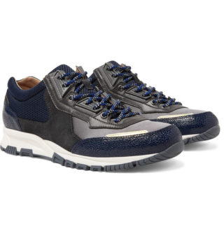 Lanvin Mesh, Suede And Textured-leather Sneakers – Navy
