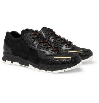 Lanvin Mesh, Suede And Textured-leather Sneakers – Black