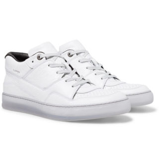 Lanvin Textured-leather Sneakers – White