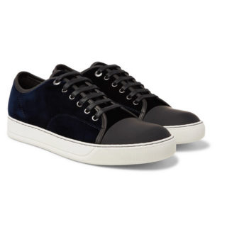 Lanvin Cap-toe Velvet And Leather Sneakers – Midnight blue