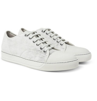 Lanvin Cap-toe Nubuck And Rubberised-leather Sneakers – Ivory