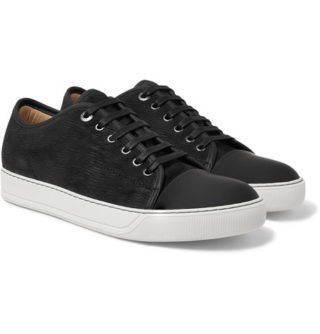Lanvin Cap-toe Nubuck And Rubberised-leather Sneakers – Black