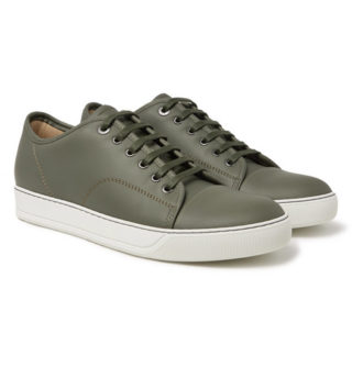 Lanvin Cap-toe Matte-leather Sneakers – Army green