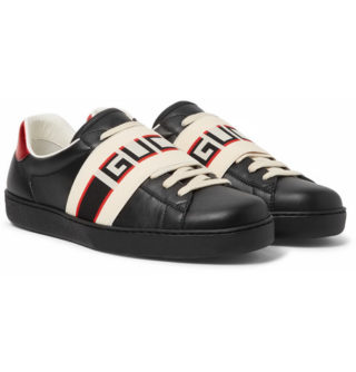 Gucci Logo-print Leather Sneakers – Black
