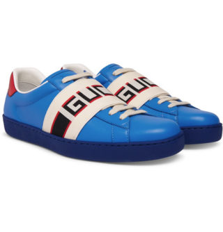 Gucci Ace Logo-print Webbing-trimmed Leather Sneakers – Blue