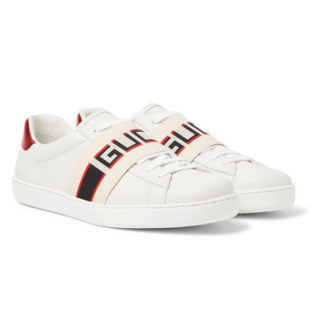 Gucci Logo-print Leather Sneakers – White