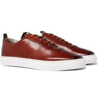 Grenson Painted Leather Sneakers – Tan