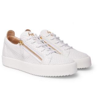 giuseppe zanotti Logoball Snake-effect Leather Sneakers – White