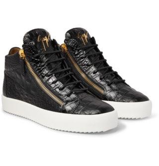 giuseppe zanotti Logoball Croc-effect Leather High-top Sneakers – Black