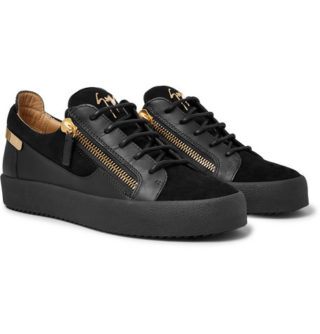 giuseppe zanotti Logoball Leather And Suede Sneakers – Black