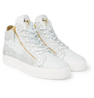 giuseppe zanotti Logoball Croc-effect Leather High-top Sneakers – White