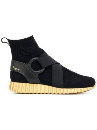 Salvatore Ferragamo hi-top wave sole sneakers (zwart)