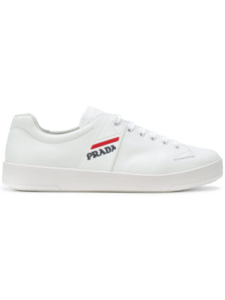Prada low-top logo sneakers (wit)