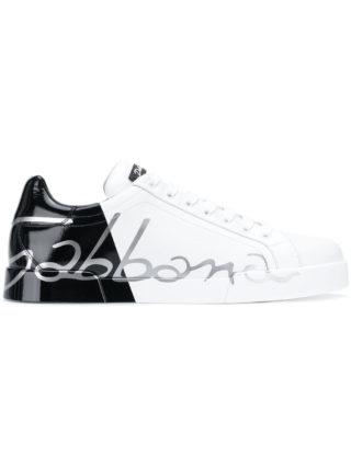 Dolce & Gabbana contrast panel sneakers (zwart)