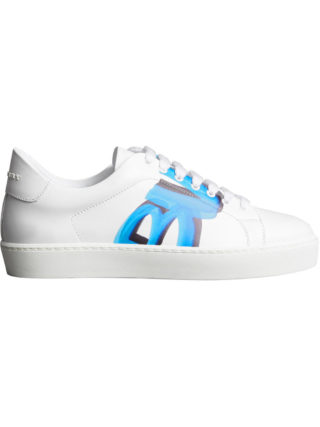 Burberry Graffiti Print Leather Sneakers (wit)