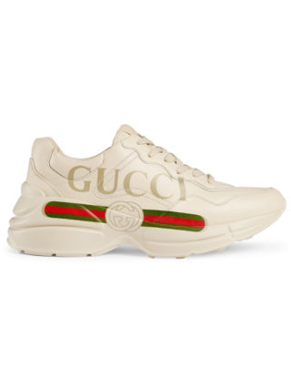 Gucci Rhyton Gucci logo leather sneakers - White