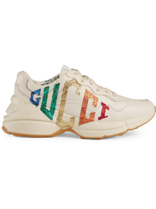 Gucci Rhyton glitter Gucci leather sneaker - White