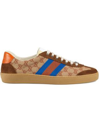 Gucci Original GG and suede Web sneaker - Brown
