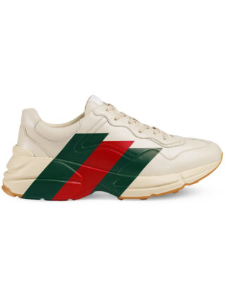 Gucci Rhyton Web print leather sneaker - White