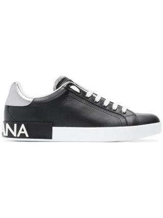 Dolce & Gabbana black, white and metallic silver portofino leather sneakers (zwart)
