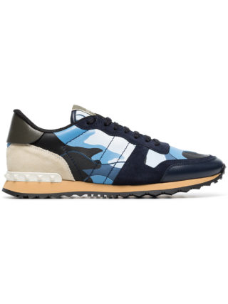 Valentino blue Rockstud camouflage print leather sneakers
