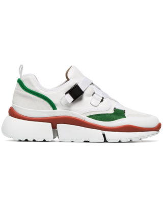 Chloé white and green Sonnie leather and suede multi strap sneakers (wit)