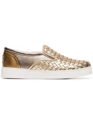 Bottega Veneta gold dodger leather woven sneaker (zilver)