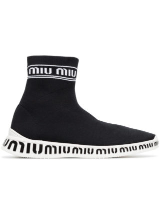 Miu Miu black white knitted logo sneakers (zwart)