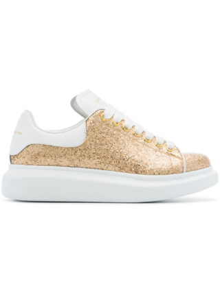 Alexander McQueen gold oversized leather glitter sneakers - White