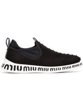 Miu Miu black and white jewelled stretch logo sneakers (zwart)