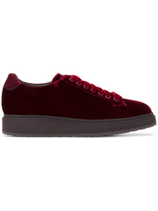 Santoni velvet lace-up sneakers (rood)