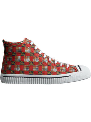 Burberry Tiled Archive Print Cotton High-top Sneakers (rood)