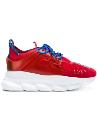 Versace mesh lace-up sneakers - Red