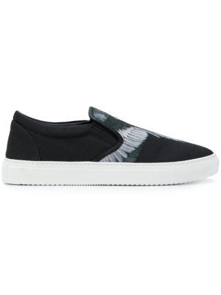 Marcelo Burlon County Of Milan feather print slip-on sneakers (zwart)