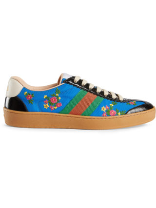 Gucci Nylon and suede Web sneakers - Blue