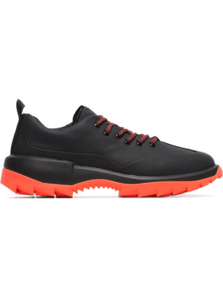Camper black and orange Helix leather low-top sneakers (zwart)