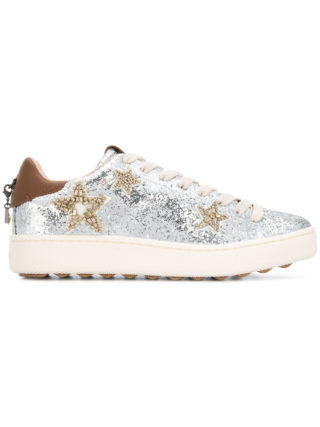 Coach glitter lace-up sneakers (zilver)