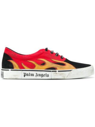 Palm Angels Flame distressed low top sneakers (zwart)