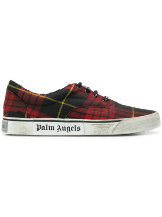 Palm Angels distressed plaid low-top sneakers (rood)