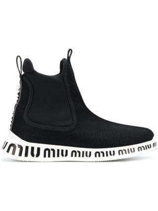 Miu Miu ankle sock sneakers (zwart)