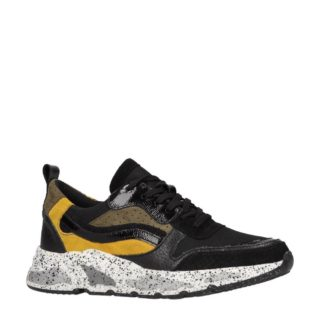 Sacha leren sneakers zwart/oker (zwart)