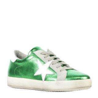 Mace metallic leren sneakers groen (groen)